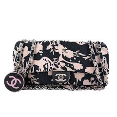 Chanel Black Pink Mirror Charm Classic 2.55 Flap Bag