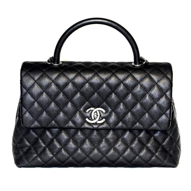 3cd08b9f8ef974 Chanel Coco Handle Bag - Black Caviar Leather - New at 1stdibs