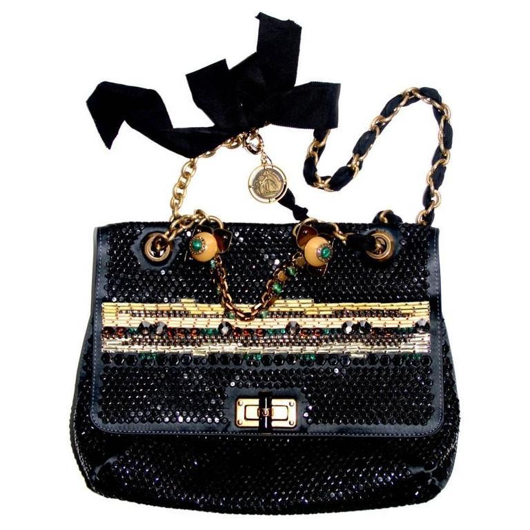 """LANVIN """"Happy"""" Collection Black Satin Stones Sequins Limited Edition Handbag"""