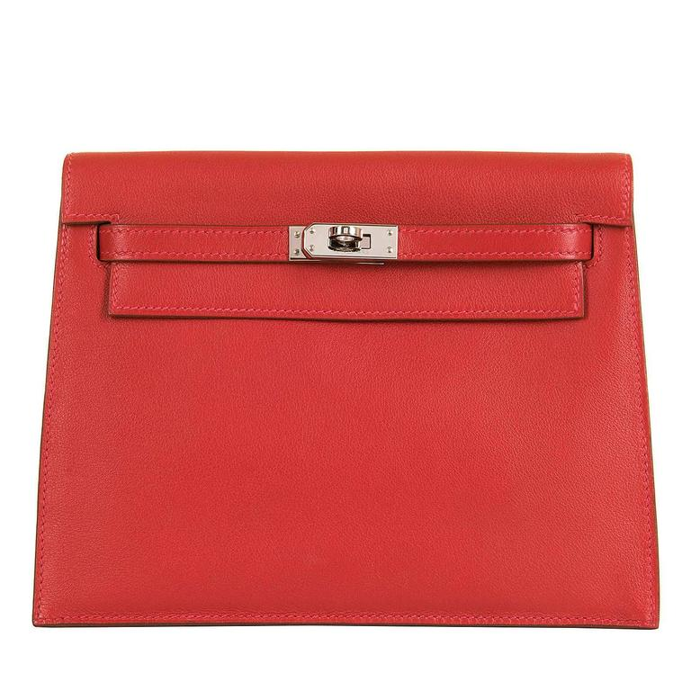 RARE & PRISTINE Hermes Danse Kelly Bag in Swift Leather with Palladium Hardware 1