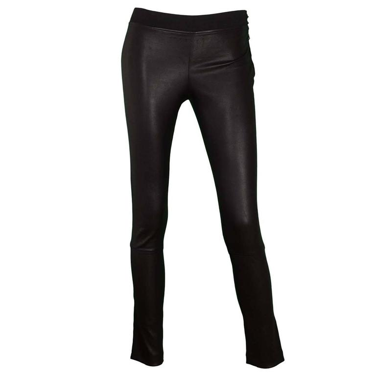 Elyse Overland Black Leather Leggings Sz 4 rt. $1,550 1