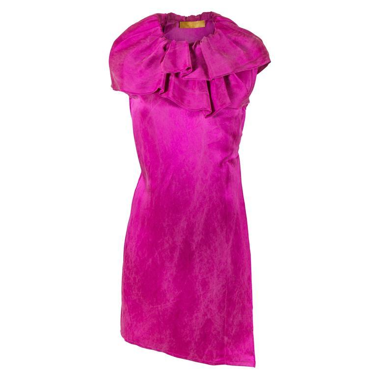 Alber Elbaz for Lanvin Fall 2007 RTW Fuchsia Silk Dress with Ruffle  1