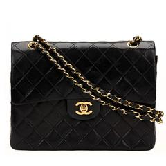 1980s Chanel Black Quilted Lambskin Vintage Medium Tall Classic Double Flap Bag