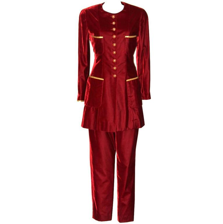CHANEL Fall 93 RTW  Sz 40 Rare Burgundy Velvet Pantsuit