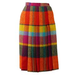 1980s YVES SAINT LAURENT Rive Gauche Plaid Tartan Wool Skirt
