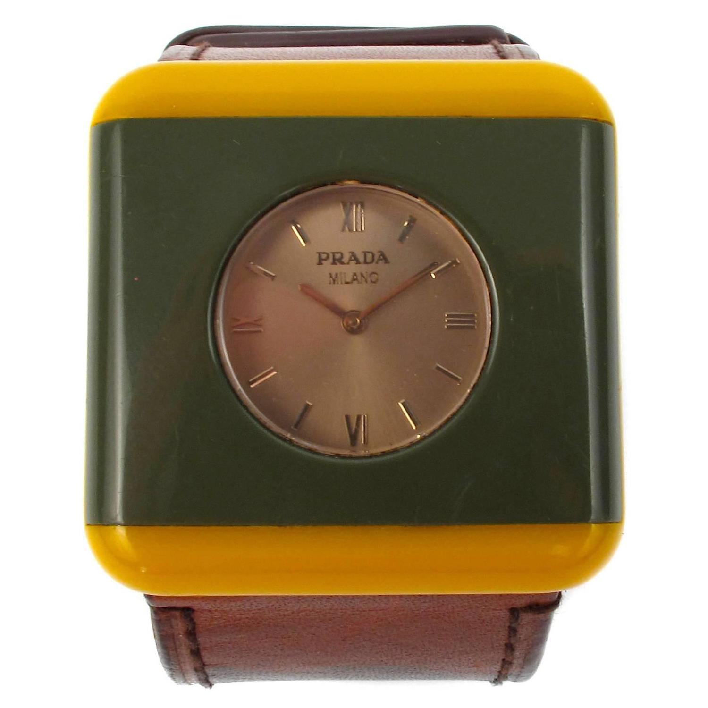 prada bracelet green yellow brown leather band