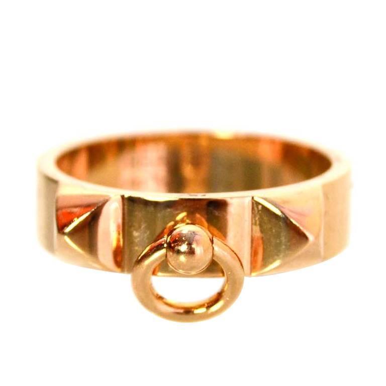 4cc47ce4c518 ... best price hermes rose gold collier de chien pm ring sz 6.5 rt. 2025 for