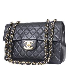 Vintage Chanel Lambskin Jumbo Classic Flap Bag XL Black