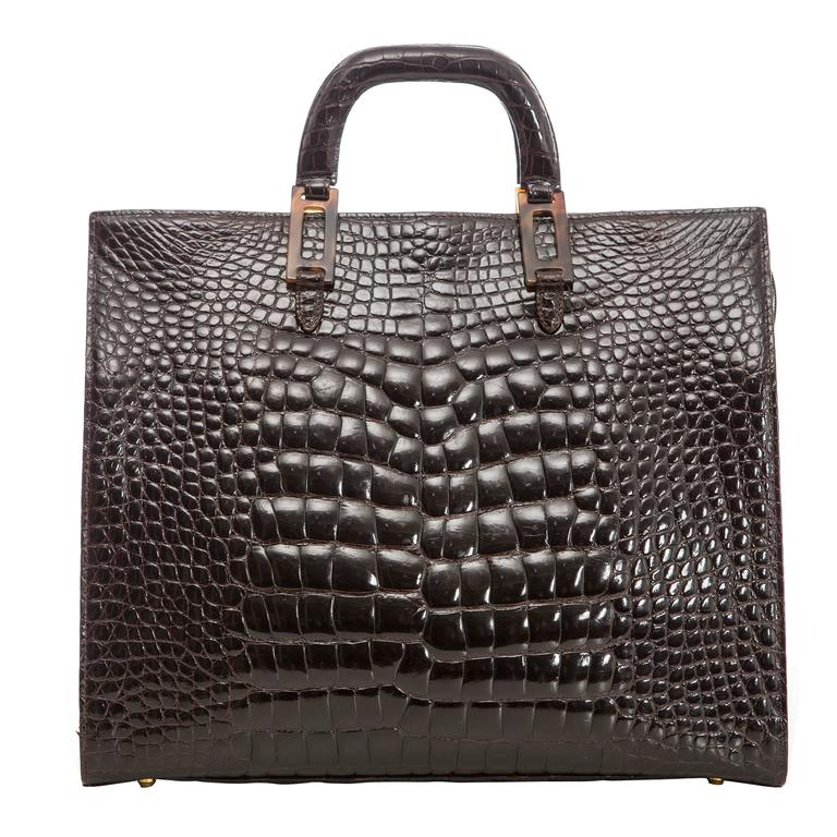 Lana Marks Chocolate Brown Alligator Tote