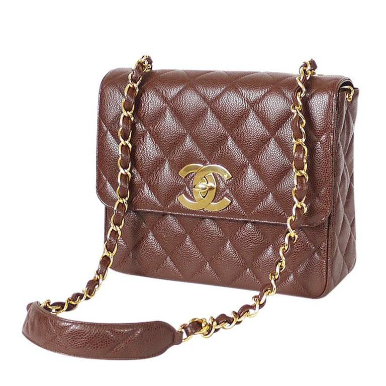 a5f5a4a80c91 Chanel Brown Caviar Skin Crossbody Classic Bag Vintage at 1stdibs
