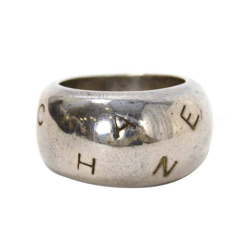 chanel sterling silver letter ring sz 7 for sale at 1stdibs