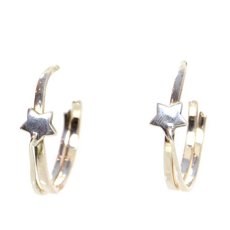 17d3f8796 Chanel Sterling Silver Star Hoop Pierced Earrings For Sale at 1stdibs