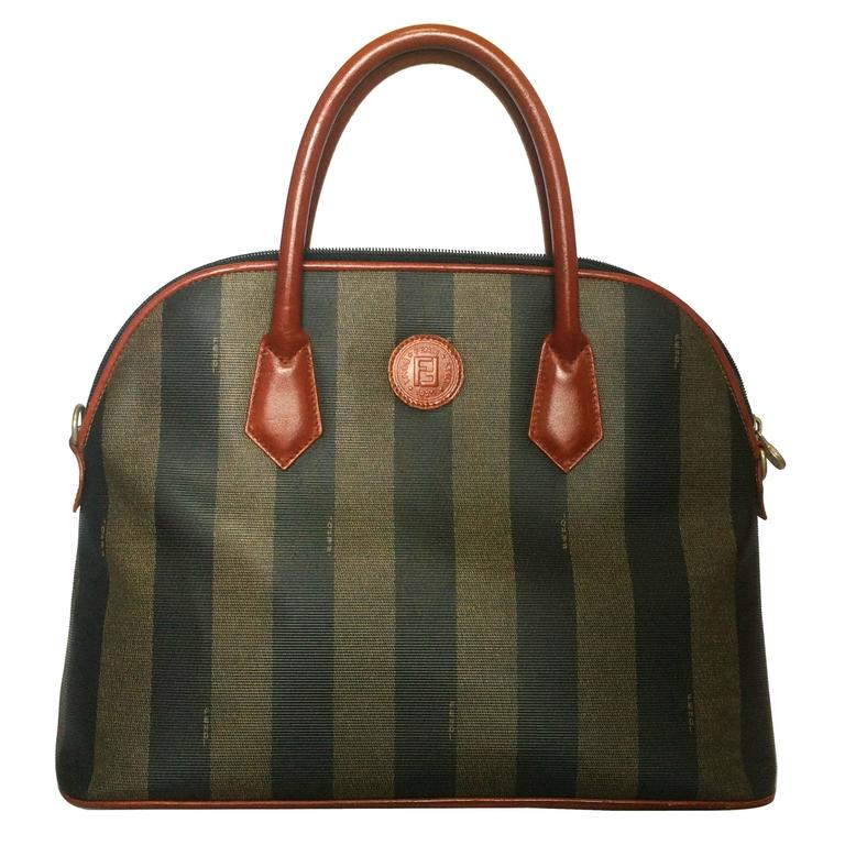 Vintage FENDI pecan khaki and grey stripe bolide tote bag with leather handles. For Sale