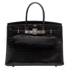 Hermès Birkin 35cm crocodile shiny black porosus PHW