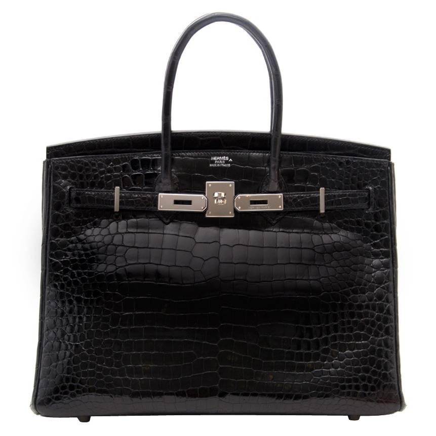 birkin35_Hermès Birkin 35cm crocodile shiny black porosus PHW For Sale at 1stdibs