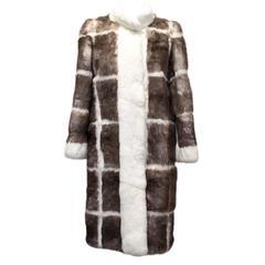 Matthew Williamson Taupe and Cream Rabbit Fur Coat