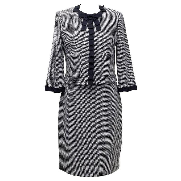 St. John Houndstooth Navy & White Dress and Jacket 1