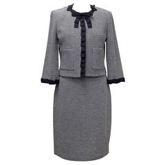 St. John Houndstooth Navy & White Dress and Jacket