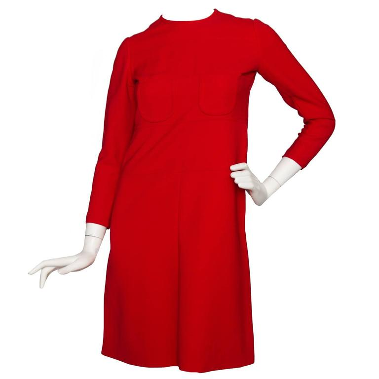 60s Mod Christian Dior Red Wool A-line Day Dress For Sale