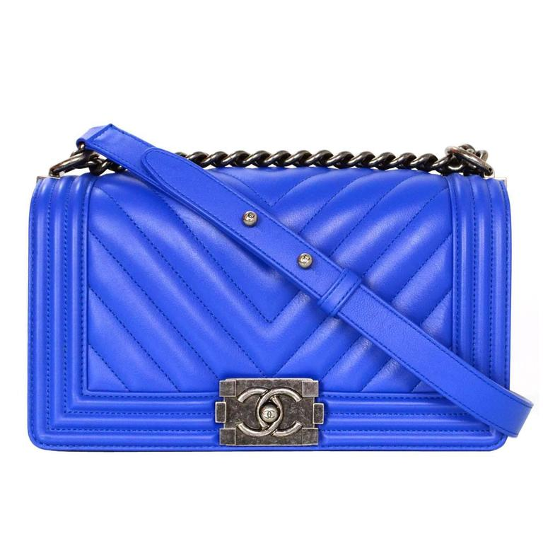 Chanel NEW 2016 RARE Cobalt Blue Chevron Old Medium Boy Bag at 1stdibs be3d0cbcc81a