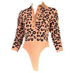 Iconic Vintage Alaia Leopard Print Bodysuit