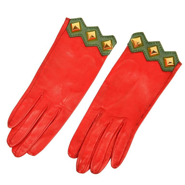 Vintage Hermes Paris Red Leather Gloves