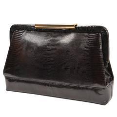 Vintage Donna Elissa Black Lizard Skin Italian Handbag