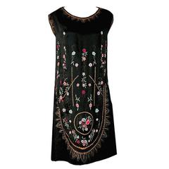 1920's French Heavily-Embroidered Metallic Floral Silk Drop-Waist Flapper Dress