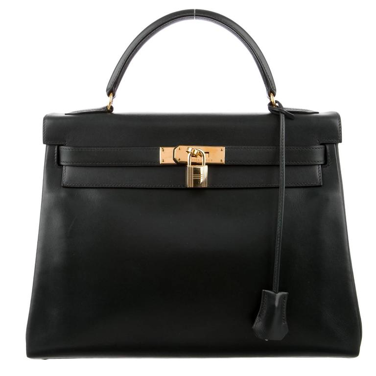 Hermes Kelly 32 Black Box Gold Satchel Shoulder Bag With Accessories For Sale