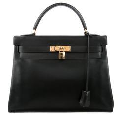 Hermes Rare Retourne Kelly 32 Black Box Gold Satchel Shoulder Bag W/Accessories