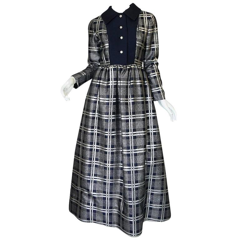 1960s Navy Silk & Silver Metallic Oscar de la Renta Dress 1