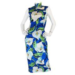 1990s Dolce and Gabbana Stretch Silk Floral Dress