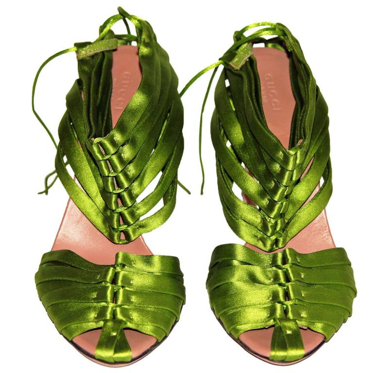 "Super Rare & Iconic Tom Ford Gucci SS 2004 ""IT"" Corset Shoes In Poison Green! 7B 1"