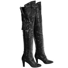 An Amazing Pair Of Yves Saint Laurent YSL Patent Crocodile Leather Thigh Boots!