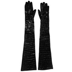 The Most Amazing Yves Saint Laurent YSL Patent Crocodile Leather Elbow Gloves! M