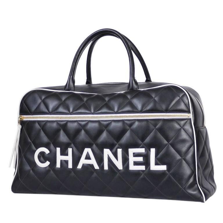 Vintage Chanel Black Leather Letter Logo Jumbo Bowling Bag 1