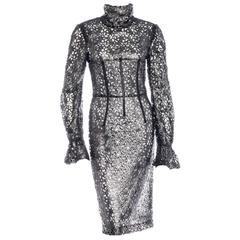 Amazing Dolce & Gabbana Gunmetal Mesh Lace Dress