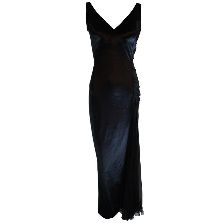 F/W 1995 Gianni Versace Black Bustier Velvet Silk Column Sheer Gown Dress