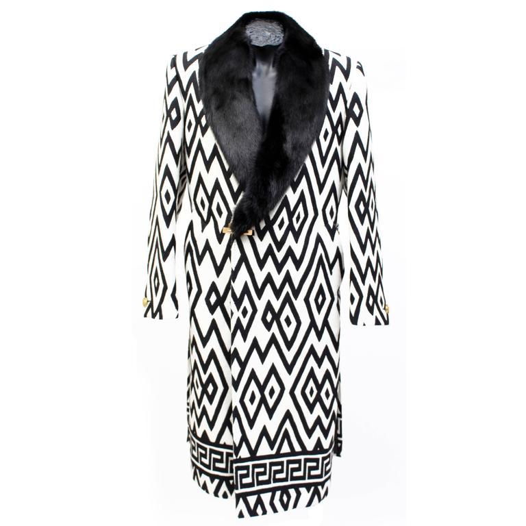 Versace Men's Printed Coat with Mink Fur 1