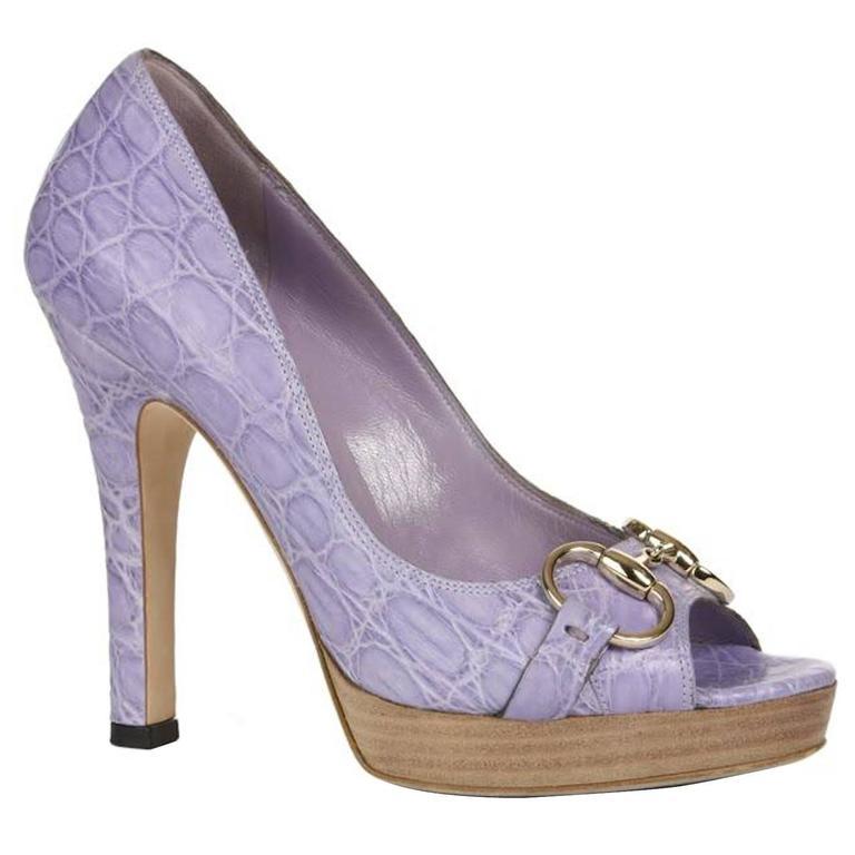 Stunning Gucci Horsebit Crocodile Peep Toe High Heels Sandals