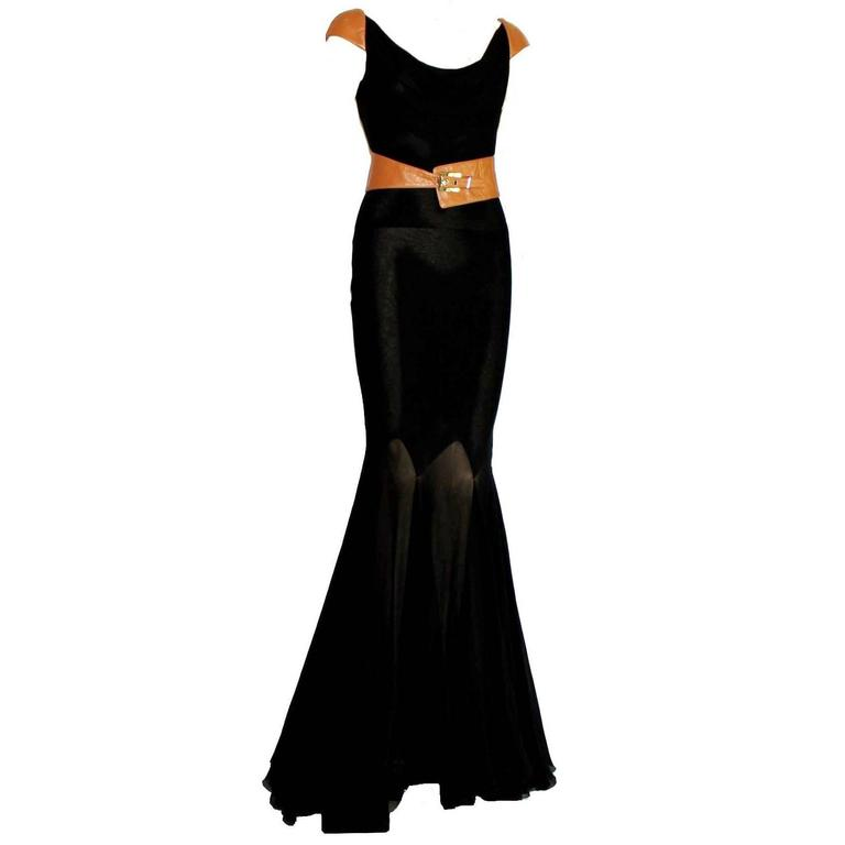Fantastic Gianni Versace Couture Belted Black Silk & Leather Gown