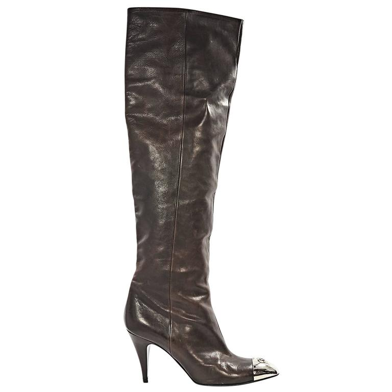 Brown Chanel Leather Heeled Boots 1