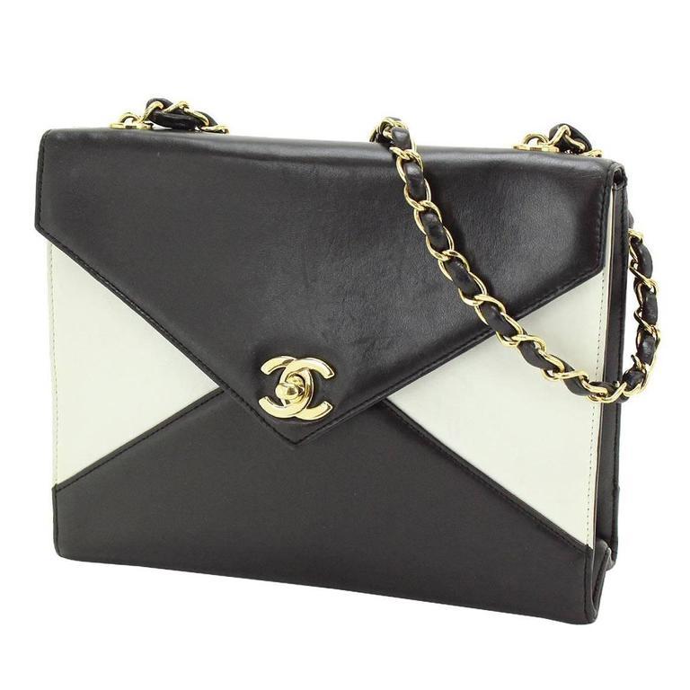 Chanel Black Ivory Colorblock Leather Gold Flap Envelope Clutch Shoulder Bag 1