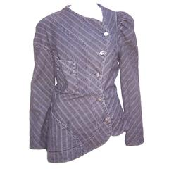 1990's Vivienne Westwood Anglomania Charcoal Denim Asymmetrical Jacket