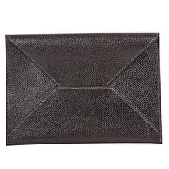 Brown Hermes Leather Envelope Clutch
