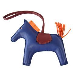 HERMES Rodeo Horse GM Bag Charm Limited Edition Rare Blue de Malte Very Rare