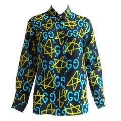2016 GUCCI GHOST Printed silk shirt