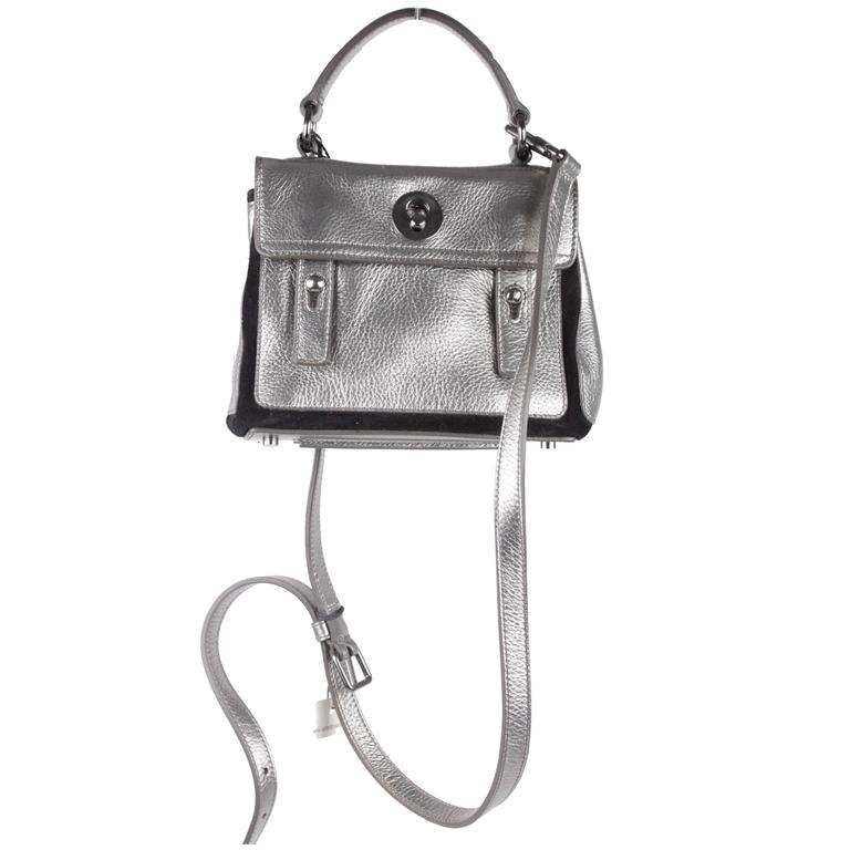 YVES SAINT LAURENT Silver Metallic Leather MUSE 2 Shoulder Bag PURSE ec7dff17c4585