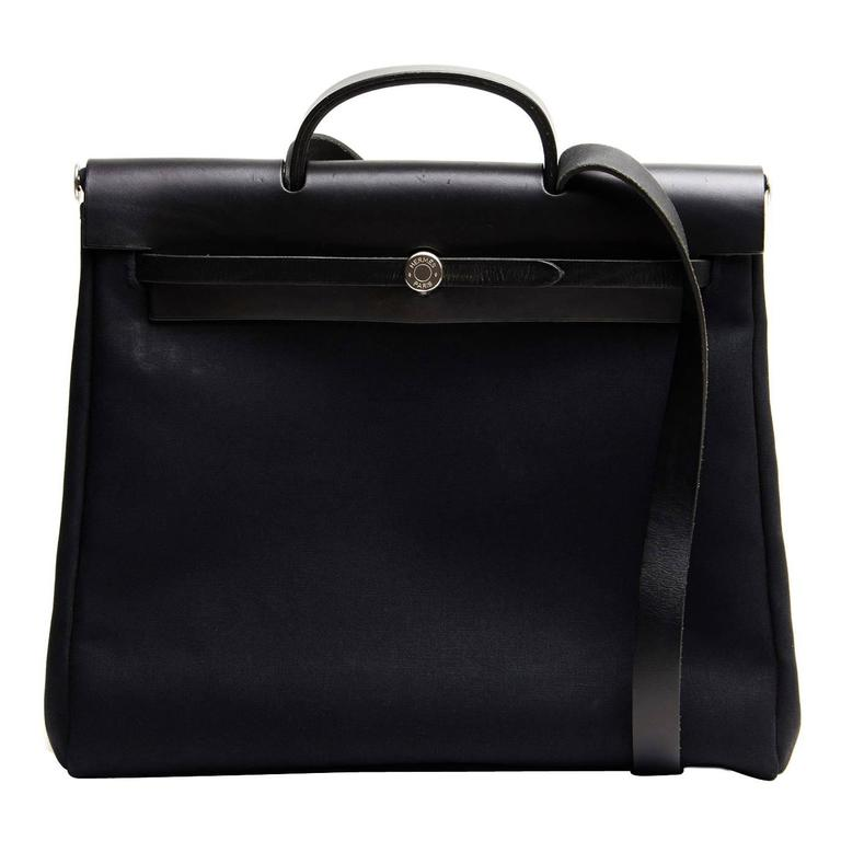 Hermès Black Canvas 2 in 1 Herbag