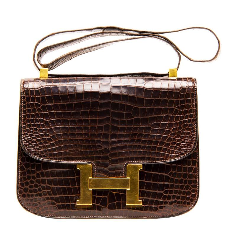 Hermès Brown Crocodile Constance 23cm Bag